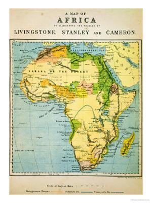 A Map of Africa to Illustrate the Travels of David Livingstone - Giclee Print
