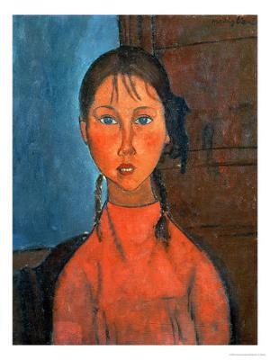 Girl with Pigtails, circa 1918 - Giclee Print