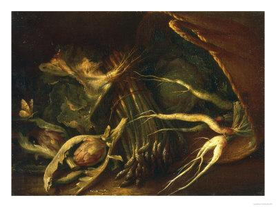 Chest with Roots, Asparagus and Artichokes, Palatine Gallery, Florence - Giclee Print