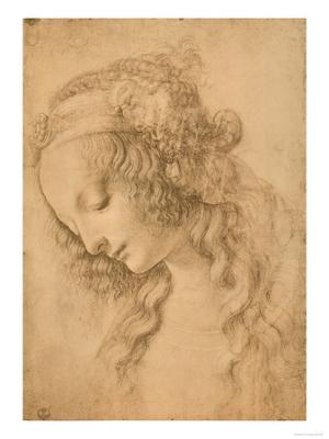 Study for the Face of the Virgin Mary of the Annunciation Now in the Louvre - Giclee Print