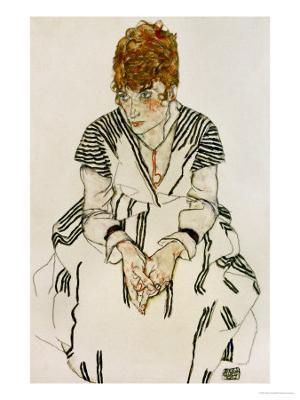 The Artist's Sister-In-Law in Striped Dress, Seated, 1917 - Giclee Print