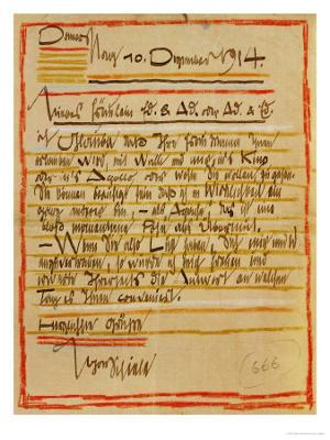 A Letter by Egon Schiele to the Sisters Edith and Adele Harms, Dec.10, 1914 - Giclee Print
