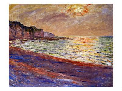 Beach at Pourville, Sunset, 1882 - Giclee Print