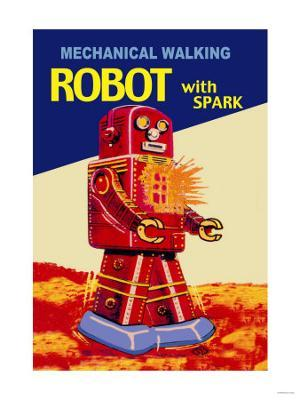 Mechanical Walking Red Robot with Spark - Stretched Canvas Print