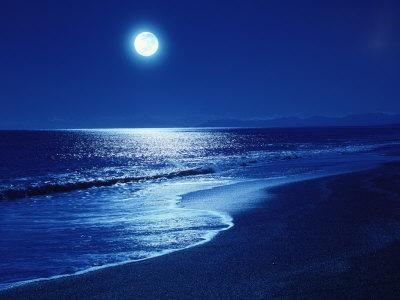 Full Moon Over the Sea - Photographic Print