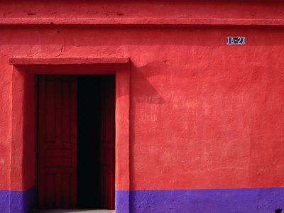 Painted Stucco House Facade, Momostenango, Totonicapan, Guatemala - Photographic Print