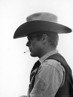 "Actor James Dean Clad in Western Garb for His Role on the Set of the Movie ""Giant"" - Premium Photographic Print"