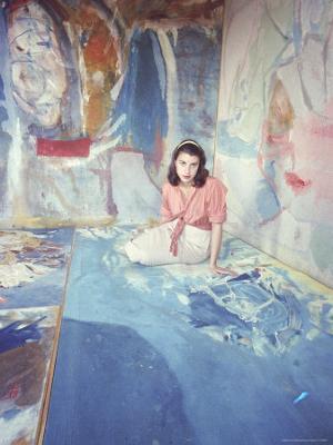 Painter Helen Frankenthaler Sitting Amidst Her Art in Her Studio - Premium Photographic Print