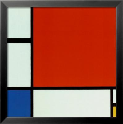 Composition with Red Blue Yellow - Framed Art Print