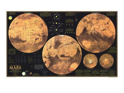 1973 Red Planet Mars Map - Photo