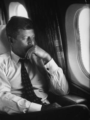 Sen. John F. Kennedy on His Private Plane During His Presidential Campaign - Photographic Print