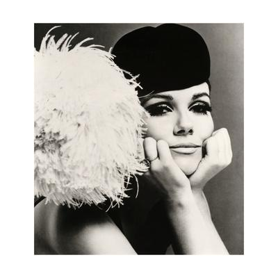 Nicole de la Marge in a Peter Shepherd Velvet Cap, 1965 - Giclee Print