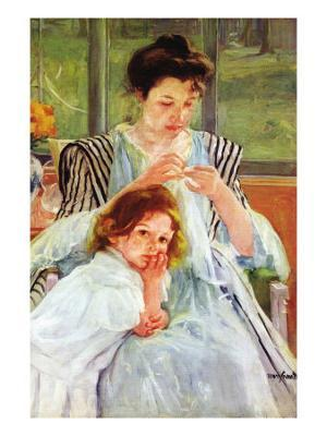 Young Mother Sewing - Photo