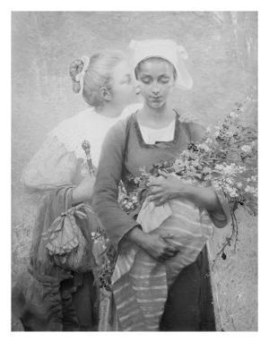 Femme et bouquet - Giclee Print