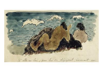 Album Noa-Noa : Texte manuscrit et couple au bord de la mer - Giclee Print