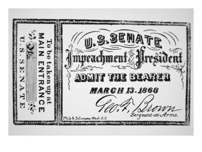 Ticket for the Impeachment of President Andrew Johnson - Giclee Print