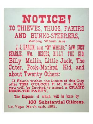 Vigilante Notice of 1882 - Giclee Print