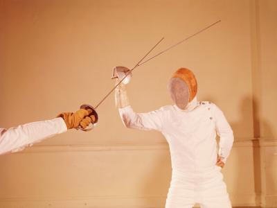 Two Men Fencing - Photographic Print