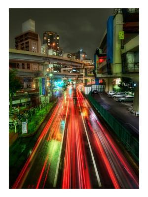 Zipping Through Tokyo - Stretched Canvas Print