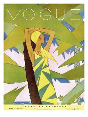 Vogue Cover - January 1927 - Among the Palms - Giclee Print