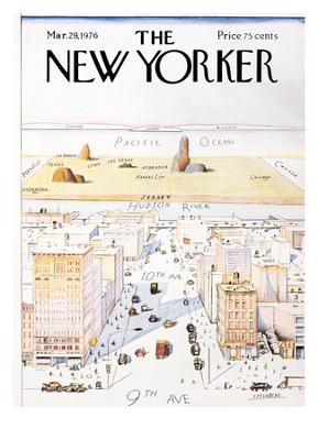 The New Yorker Cover, View of the World from 9th Avenue - March 29, 1976 - Giclee Print