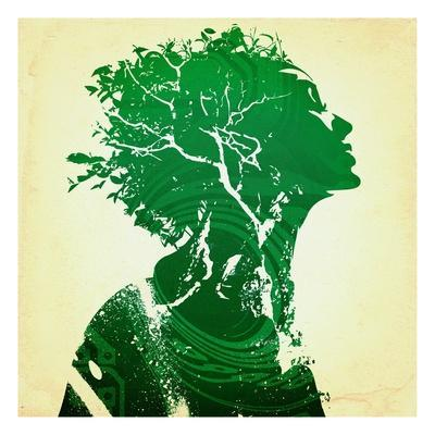 Green woman - Giclee Print