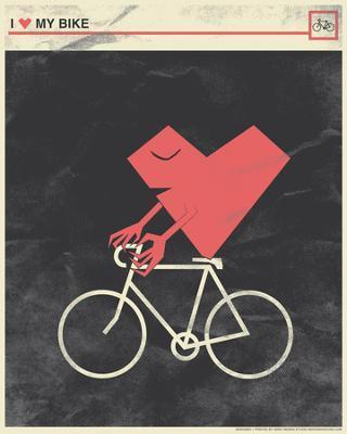 I Heart My Bike - Serigraph