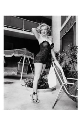 Marilyn Monroe Standing Poolside - Art Print