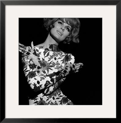 Floral Projection on Model, 1960s - Framed Giclee Print