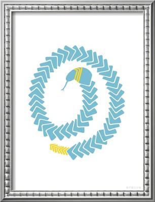 Aqua Snake - Framed Art Print