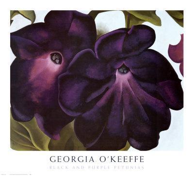 Black and Purple Petunias - Art Print