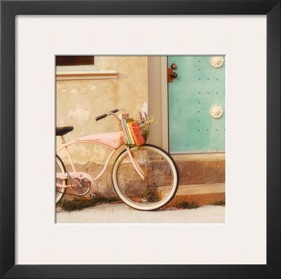 Vintage Pink Bike - Framed Art Print