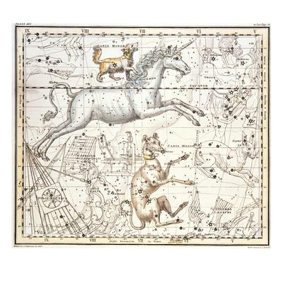 Constellations of Monoceros the Unicorn, Canis Major and Minor from A Celestial Atlas - Giclee Print