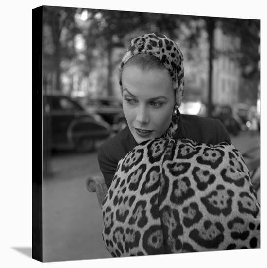 1949: Woman in Fur Fashion in New York City-Gordon Parks-Stretched Canvas Print
