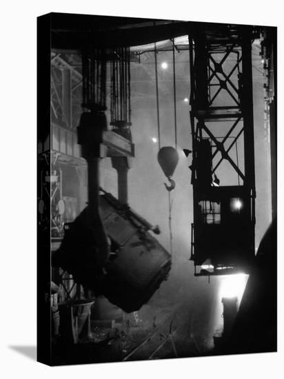 200-Ton Ladle at Work Near Blast Furnace in the Otis Steel Mill-Margaret Bourke-White-Stretched Canvas Print