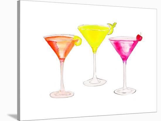 3 Cocktail Glasses- Alison B Illustrations-Stretched Canvas Print