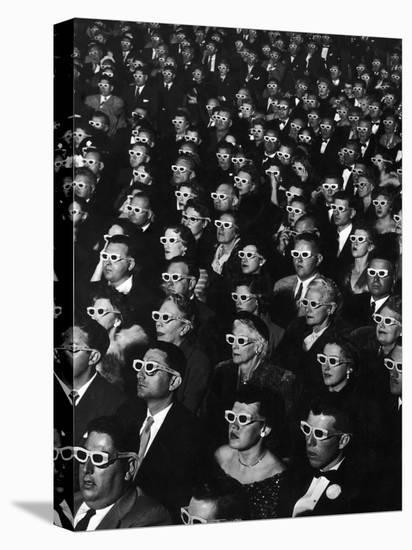 """3-D Movie Viewers during Opening Night of """"Bwana Devil""""-J^ R^ Eyerman-Stretched Canvas Print"""
