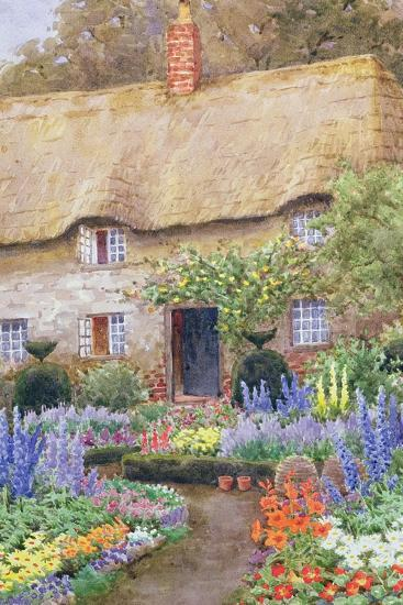 A Cottage Garden in Full Bloom-John Henry Garlick-Stretched Canvas Print