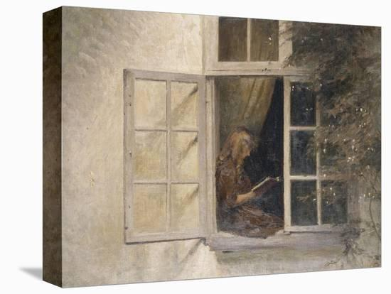 A Girl Reading in a Window-Peter Ilsted-Stretched Canvas Print