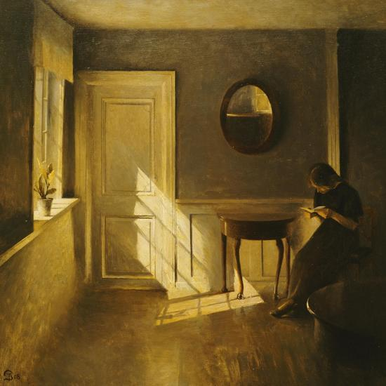 A Girl Reading in an Interior-Peter Ilsted-Stretched Canvas Print