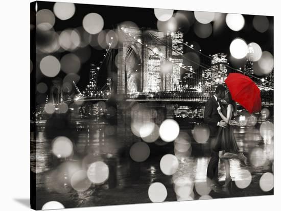 A Kiss in the Night (BW)-Dianne Loumer-Stretched Canvas Print
