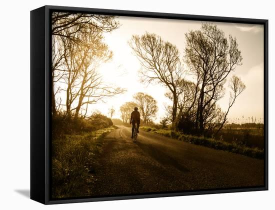 A Man Cycles into the Sunrise on a Misty Morning in the Marshes Near Pevensey, East Sussex-Roff Smith-Framed Canvas Print
