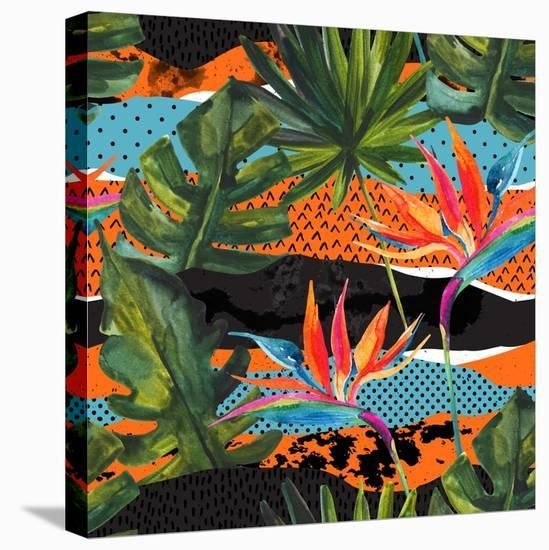 Abstract Tropical Summer Pattern - Watercolor Exotic Flower, Monstera, and Palm Leaves-tanycya-Stretched Canvas Print