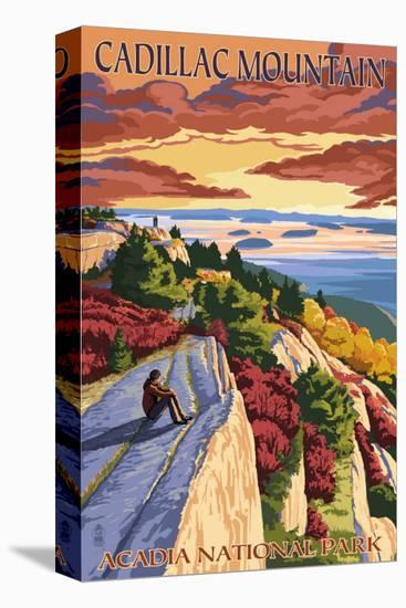 Acadia National Park, Maine - Cadillac Mountain-Lantern Press-Stretched Canvas Print