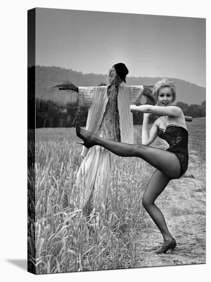 """Actress and Dancer Julie Newmar Warming Up for Her Devil's Role in the Musical """"Damn Yankees""""-Nina Leen-Premier Image Canvas"""