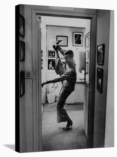 Actress Angela Lansbury Limbering Up for Hit Broadway Show 'Mame'-Mark Kauffman-Stretched Canvas Print
