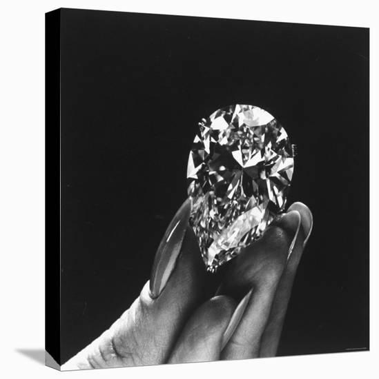 Actress Elizabeth Taylor Displaying Her Diamonds, Bought from Cartiers-Yale Joel-Stretched Canvas Print