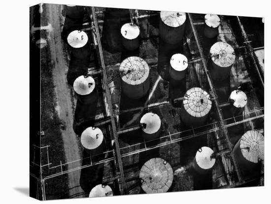 Aerial View of Storage Tanks at Humble Oil Co-Margaret Bourke-White-Stretched Canvas Print