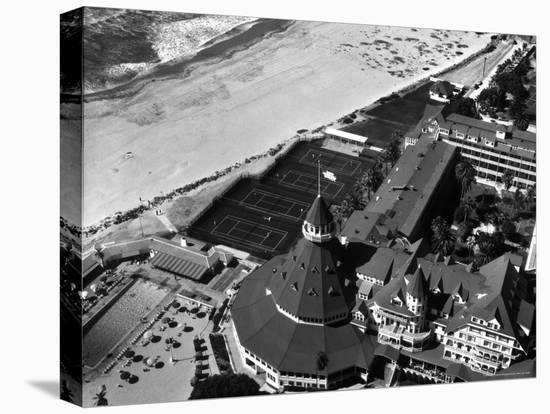 Aerial View of the Beach, Tennis Courts and Pool of the Coronado Hotel-Margaret Bourke-White-Stretched Canvas Print