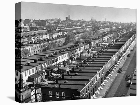 Aerial View of Town Houses in Baltimore-Dmitri Kessel-Stretched Canvas Print